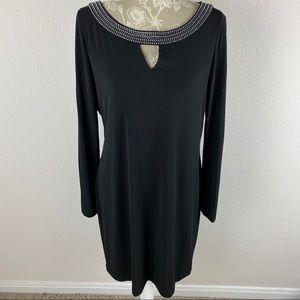 Calvi. Klein Black Dress Keyhole Jewel Neckline 12